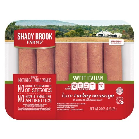 Shady Brook Farms Lean Turkey Sausage Links, Sweet Italian (1.25 lbs. trays, 2 pk.)