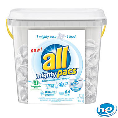 all Mighty Pacs Free & Clear HE (84 loads)