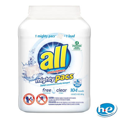 all Mighty Pacs Free & Clear HE (104 loads)