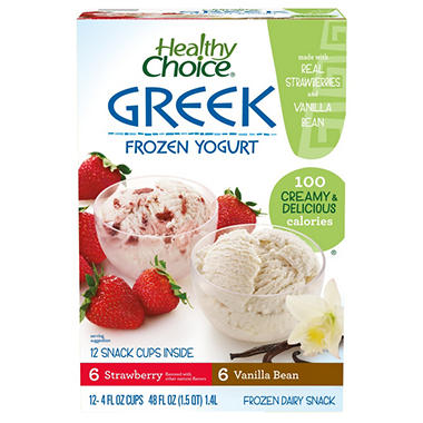 Healthy Choice Frozen Greek Yogurt  (4 oz. cups, 12 ct.)