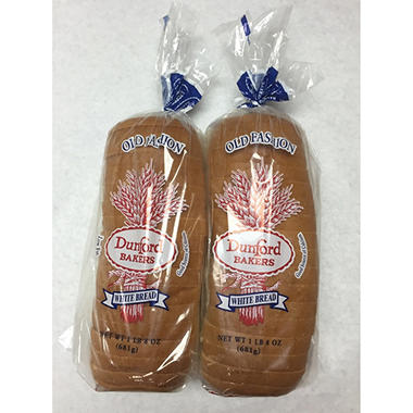 Dunford Bakers White Bread (1.5 lb. loaf, 2 pk.)