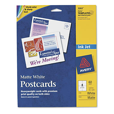 Avery - 3263 - Postcards, Inkjet, Matte - 60 Cards