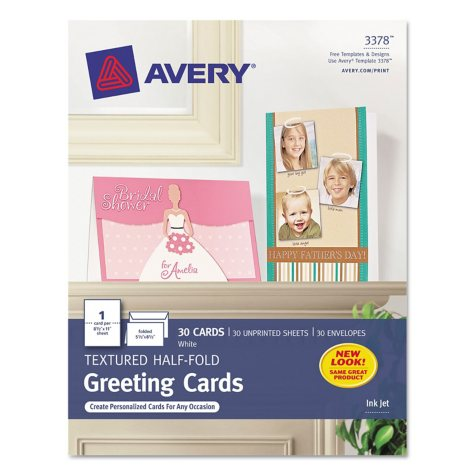 Avery - 3378 - Greeting Cards, Textured, Inkjet, White - 30 Cards