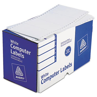 Avery - Dot Matrix Printer Shipping Labels, 1 Across, 2-15/16 x 5, White -  3000/Box