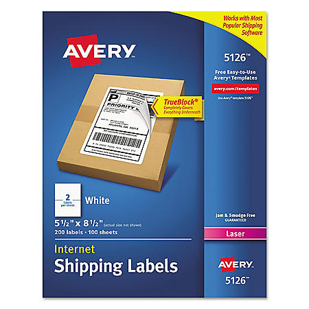 Avery Shipping Labels with TrueBlock Technology, Laser, 5 1/2 x 8 1/2, White, 200/Box