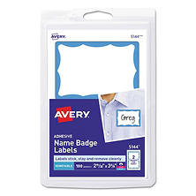 Avery Self-Adhesive Print or Write On Name Badge Labels, 100ct. Select Border Color