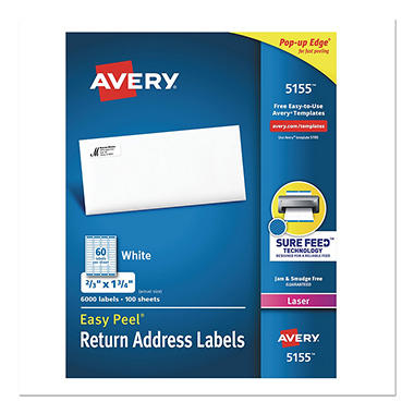 Avery Easy Peel White Address Labels - 2/3