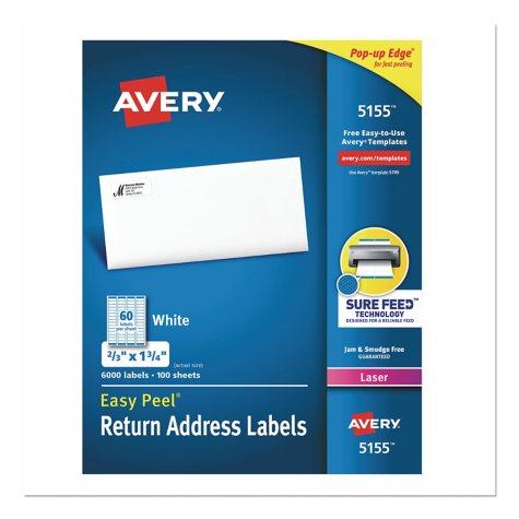 "Avery Easy Peel White Address Labels - 2/3""x 1 3/4"" - White - 6,000 pk."