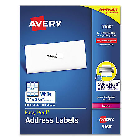 Avery Easy Peel Mailing Address Labels w/Sure Feed, Laser, 1 x 2 5/8, White, 3000/Box