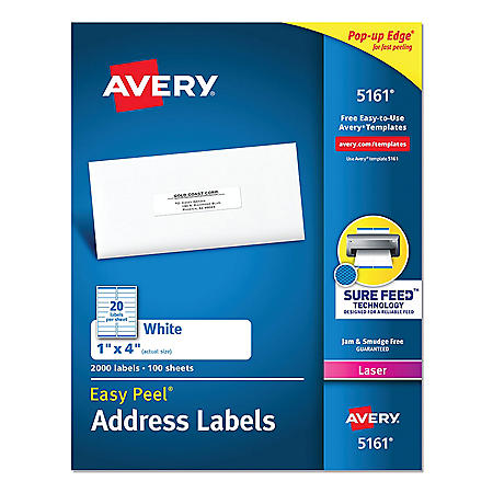 Avery Easy Peel Mailing Address Labels w/Sure Feed, Laser, 1 x 4, White, 2000/Box