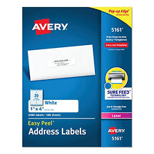"Avery 5161 Laser Address Labels, 1 x 4"", White - 2,000 Labels"