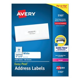 """Avery 5161 Laser Address Labels, 1 x 4"""", White - 2,000 Labels"""