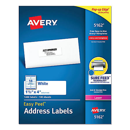 "Avery 5162 - Laser Address Labels, 1-1/3 x 4"", White - 1,400 Labels"