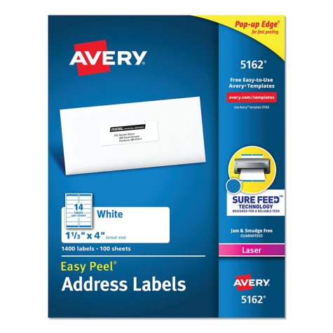 """Avery 5162 - Laser Address Labels, 1-1/3 x 4"""", White - 1,400 Labels"""