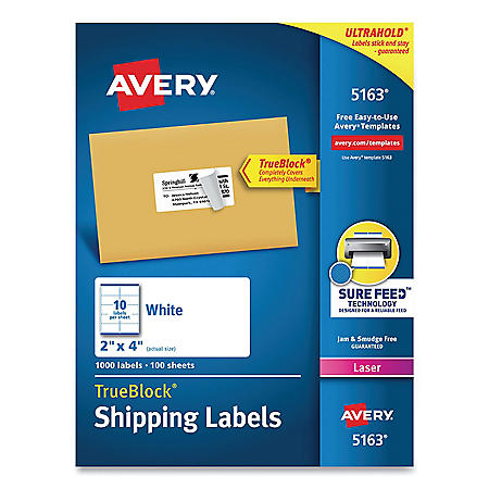 "Avery TrueBlock Shipping Labels, Laser, 2"" x 4"", White (1,000 ct.)"