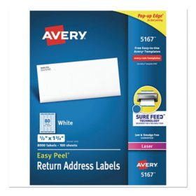 "Avery 5167 Laser Return Address Labels - 1/2 x 1-3/4"" - White - 8,000 ct."