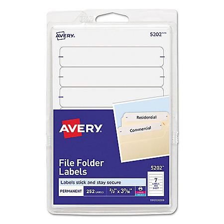 Avery Permanent File Folder Labels, 11/16 x 3 7/16, White, 252/Pack
