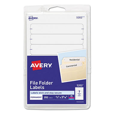 Avery 5202 - Print or Write File Folder Labels, White - 252 Labels