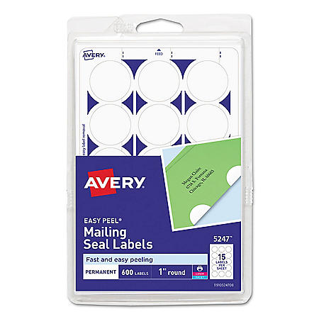 "Avery Printable Mailing Seals, 1"" dia., White, 600/Pack"