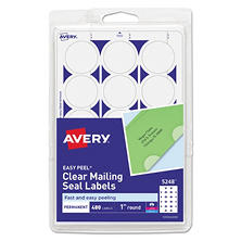 Avery - Print or Write Mailing Seals, 1in dia., Clear, 480 Pack