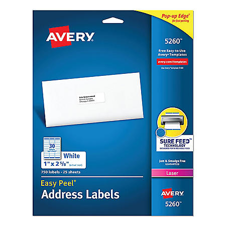 Avery Easy Peel Mailing Address Labels w/Sure Feed, Laser, 1 x 2 5/8, White, 750/Pack