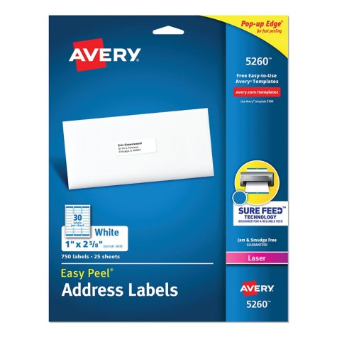 Avery Easy Peel Address Labels, Laser, 1 x 2 5/8, White, 750 Labels