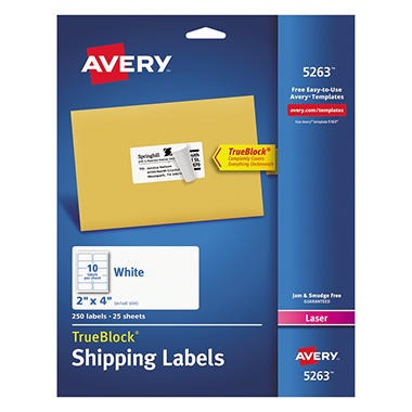 Avery TrueBlock Shipping Labels, Laser, 2 x 4, White, Select Quantity