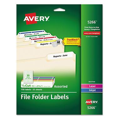 Avery 5266 File Folder Labels Laser Or Inkjet Assorted Colors 750