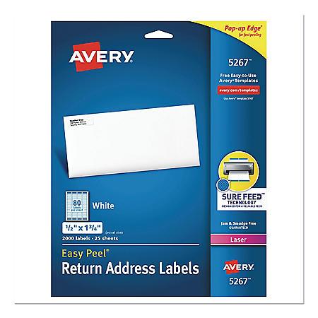 Avery Easy Peel Return Address Labels w/Sure Feed, Laser, 1/2 x 1 3/4, White, 2000/PK