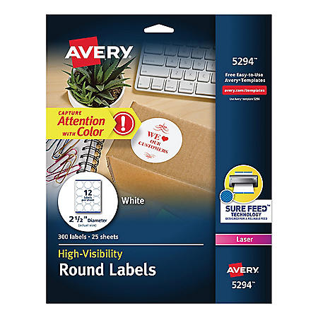 Avery High-Visibility Round Permanent ID Labels, Laser, 2 1/2 dia, White, 300/Pack