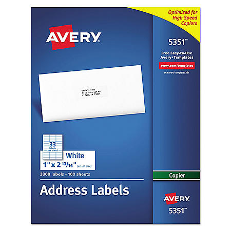 Avery Copier Address Labels, 1 x 2 13/16, White, 3300/Box