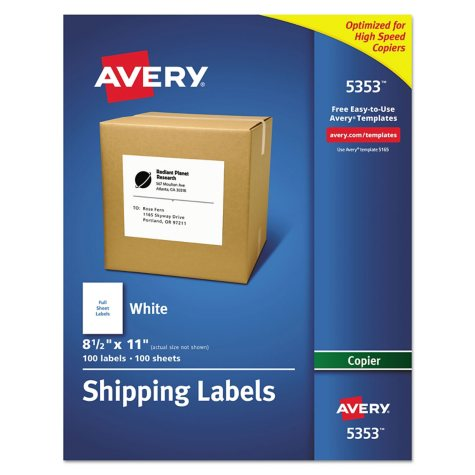 "Avery 5353 - Copier Full Sheet Labels, 8.5"" x 11"", White - 100 Labels"