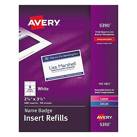 Avery Name Badge Insert Refills, Horizontal/Vertical, 2 1/4 x 3 1/2, White, 400/Box