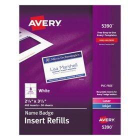 Avery Laser/Inkjet Name Badge Refills
