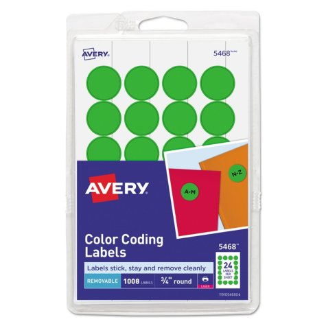 """Avery - Print or Write Color Coding Labels, 3/4"""", 1,008 Labels, Select Color"""