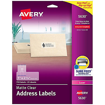 Avery Easy Peel Mailing Labels, Laser, 1 x 2 5/8, Clear, 750ct.