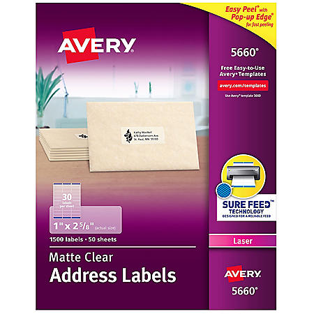 Avery Matte Clear Easy Peel Address Labels w/Sure Feed, Laser, 1 x 2 5/8, 1500/Box