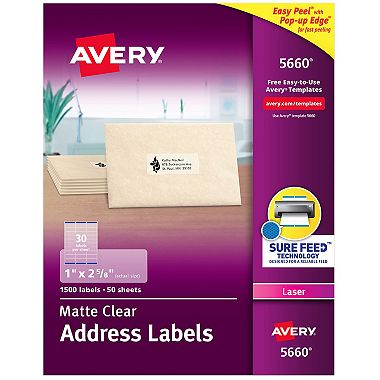 Avery Easy Peel Laser Mailing Labels 1 X 2 58 Clear 1500