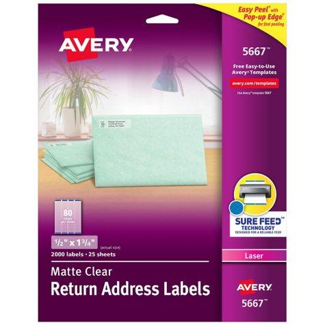 "Avery 5667 - Laser Return Address Labels, 1/2 x 1-3/4"", Clear - 2,000 Labels"