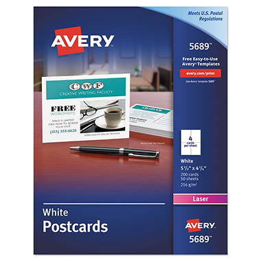 avery postcards for laser printers 4 1 4 x 5 1 2 white 4 sheet