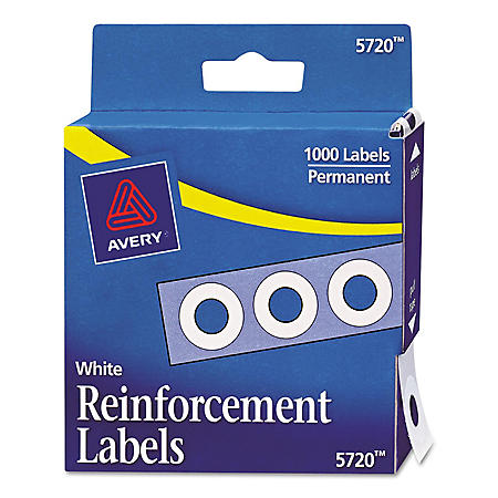 Avery 05720/05722 Hole Punch Reinforcement Labels, 1,000ct., Select Color