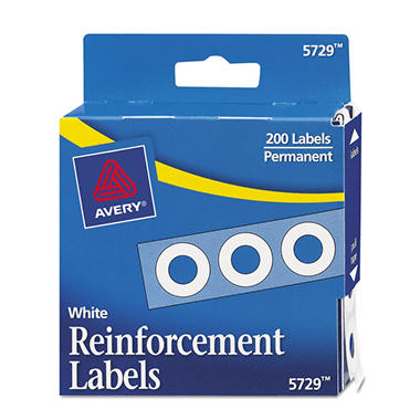Avery Hole Punch Reinforcement Labels, White, 200ct.