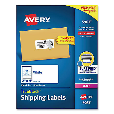 Avery Shipping Labels w/ TrueBlock & Sure Feed, Laser, 2 x 4, White, 2500/Box