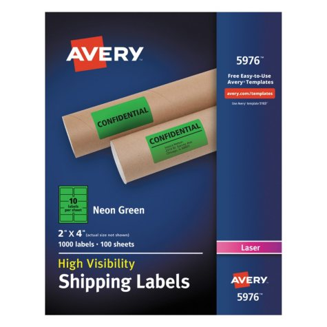 "Avery High-Visibility Shipping Label, Laser, 2"" x 4"", Neon Green, 1000 ct."