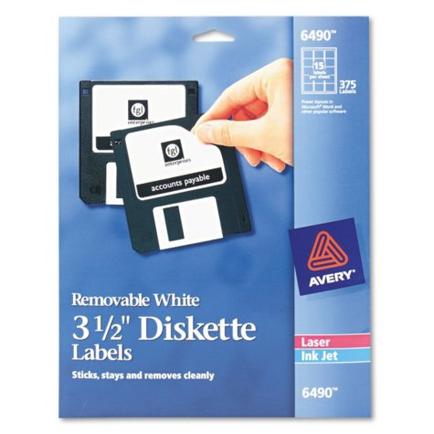 """Avery Removable Laser 3-1/2"""" Diskette Labels"""