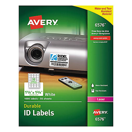 Avery Permanent ID Labels w/TrueBlock Technology, Laser, 1 1/4 x 1 3/4, White, 1600/PK