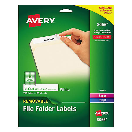 Avery 1/3-Cut File Folder Labels w/SureFeed, Inkjet/Laser, .66 x 3.44, White, 750/PK