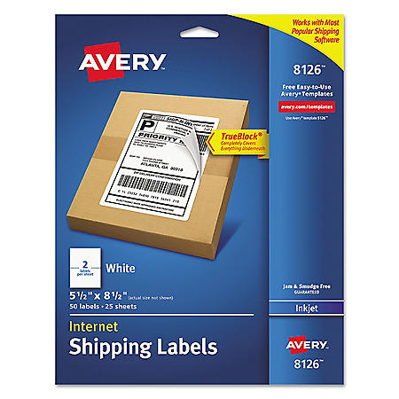 Avery Shipping Labels w/Ultrahold & TrueBlock, Inkjet, 5 1/2 x 8 1/2, White, 50/Pack