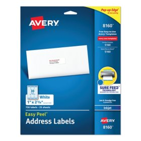 "Avery 8160 Inkjet Address Labels - 1 x 2-5/8"" - White - 750 ct."