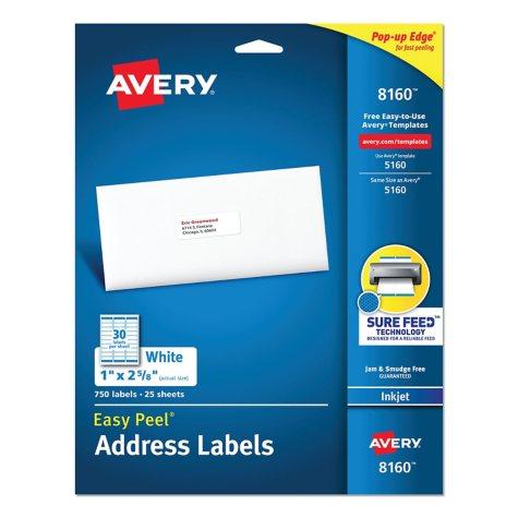 "Avery 8160 Inkjet Address Labels - 1 x 2-5/8"" - White - 750 ct."